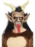 Maska s vlasy - Čert Krampus - s rohy a jazykem