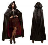 Plášť s kapucí černý s červenou podšívkou